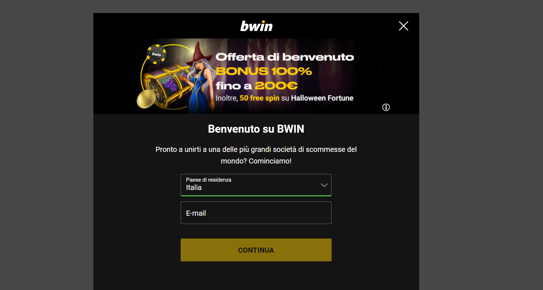 bwin registrazione