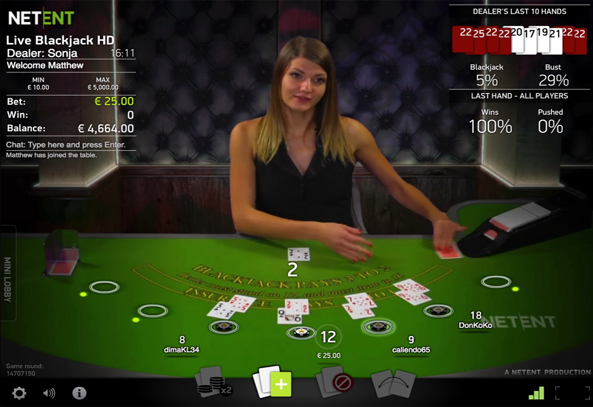 live blackjack netent